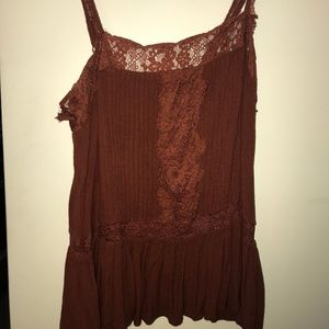 American Eagle Rusty Red Laced Blouse